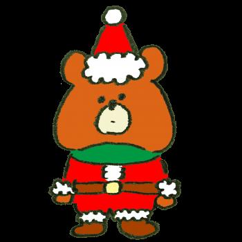 サンタクロースのコスプレをさせられた熊のイラスト