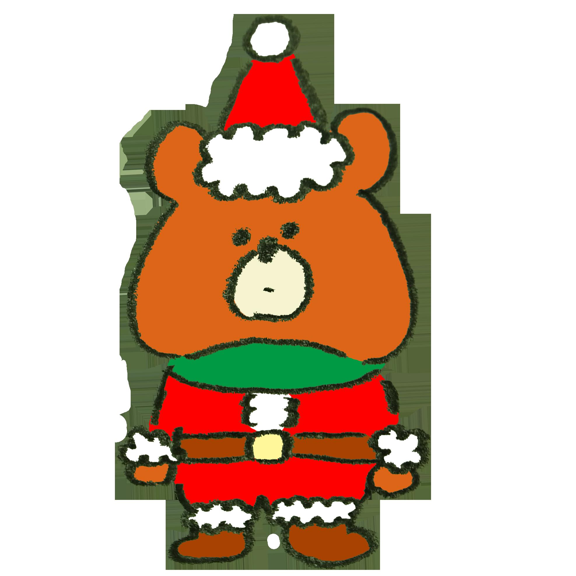 サンタクロースのコスプレをさせられた熊のイラスト ゆるくてかわいい無料イラスト素材屋 ぴよたそ