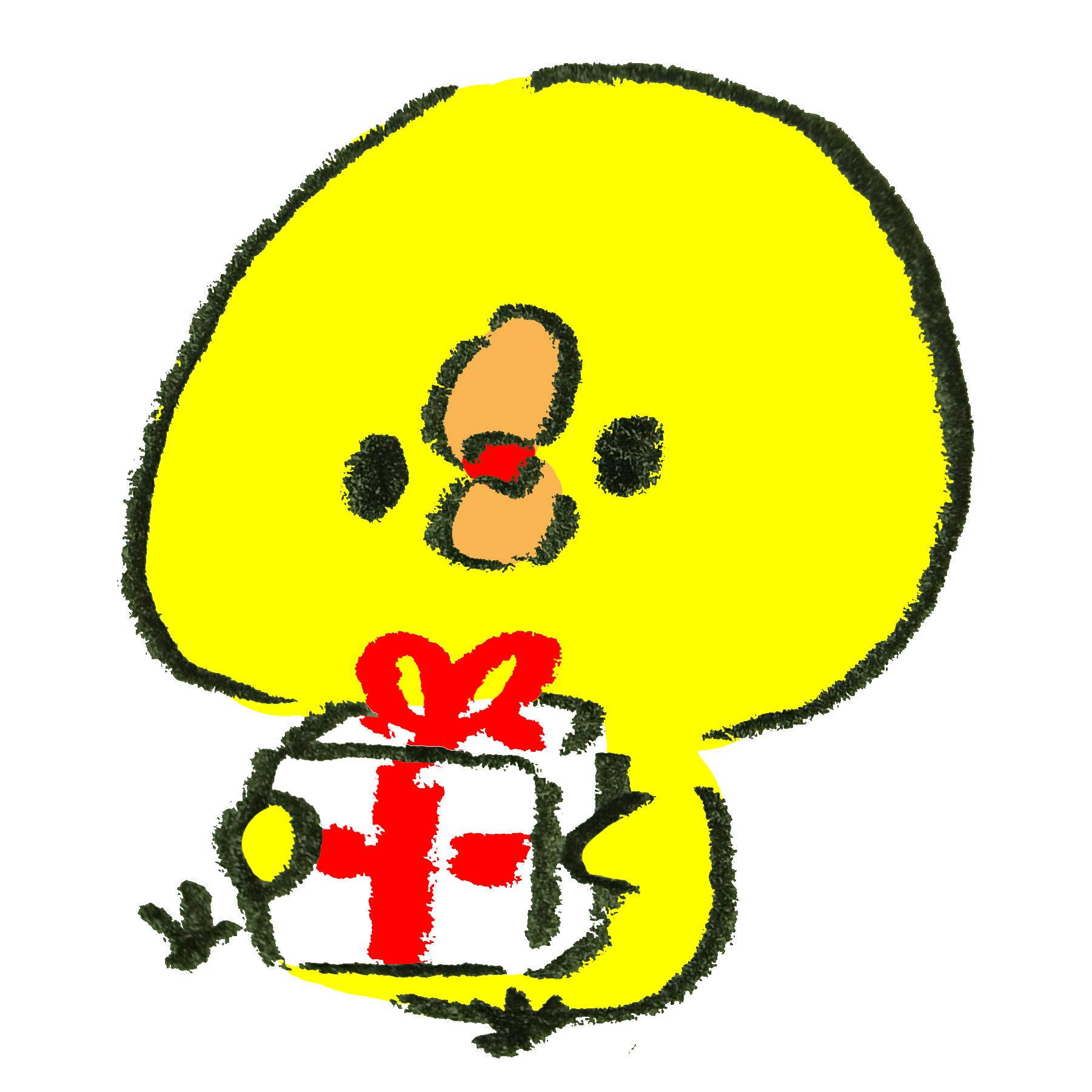 クリスマスプレゼントをもらってワクワクしているひよこのイラスト