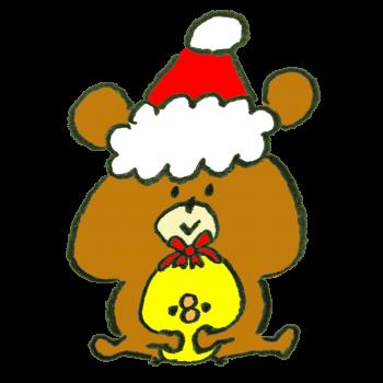 クリスマスプレゼントにひよこをセレクションした熊のイラスト