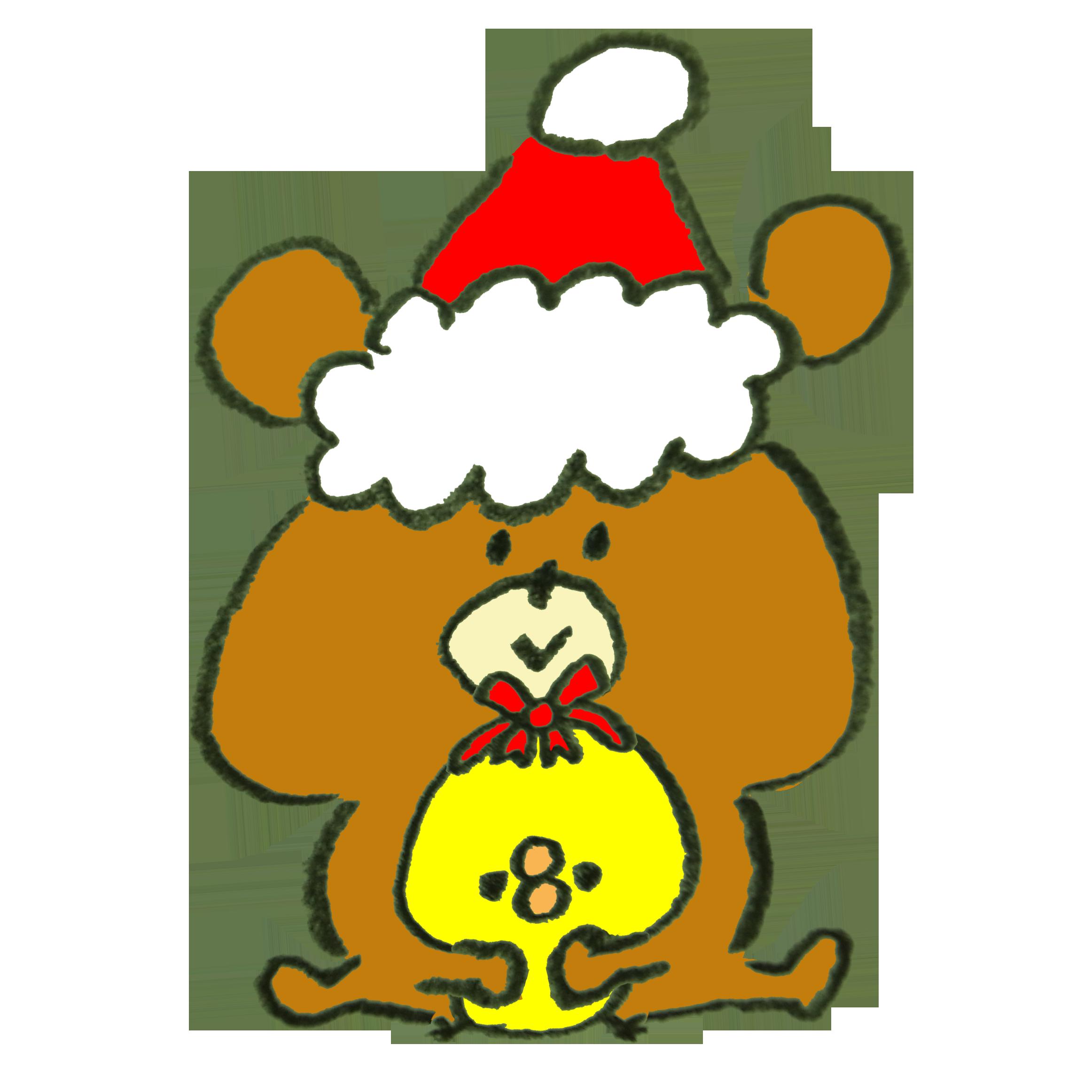 クリスマスプレゼントにひよこをセレクションした熊のイラスト | ゆるく