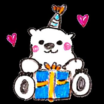 クリスマスプレゼントを開けようとする白熊のイラスト