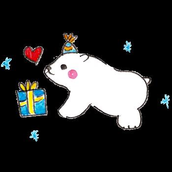 クリスマスプレゼントにウキウキする白熊のイラスト