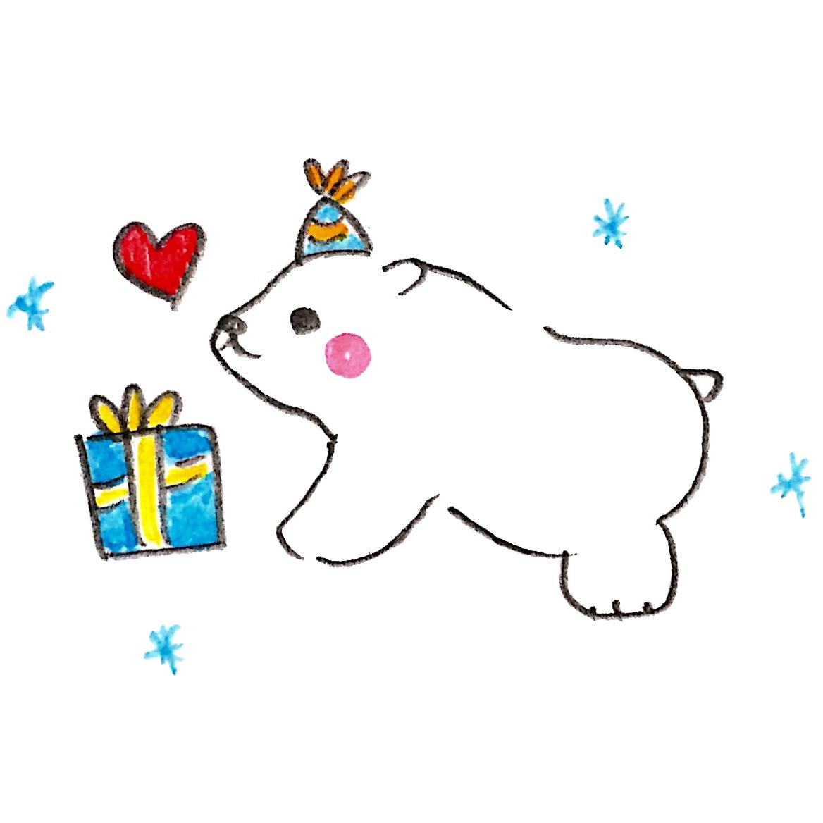 クリスマスプレゼントにウキウキする白熊
