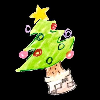 飾りつけの済んだクリスマスツリーのイラスト