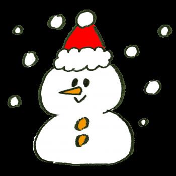 クリスマス帽をかぶった雪だるまのイラスト