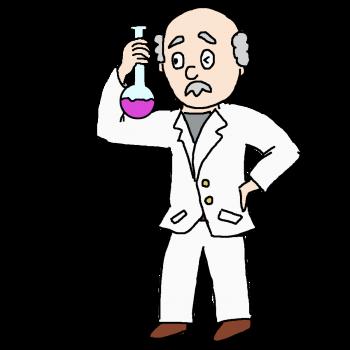 怪しい薬品で実験をする博士のイラスト