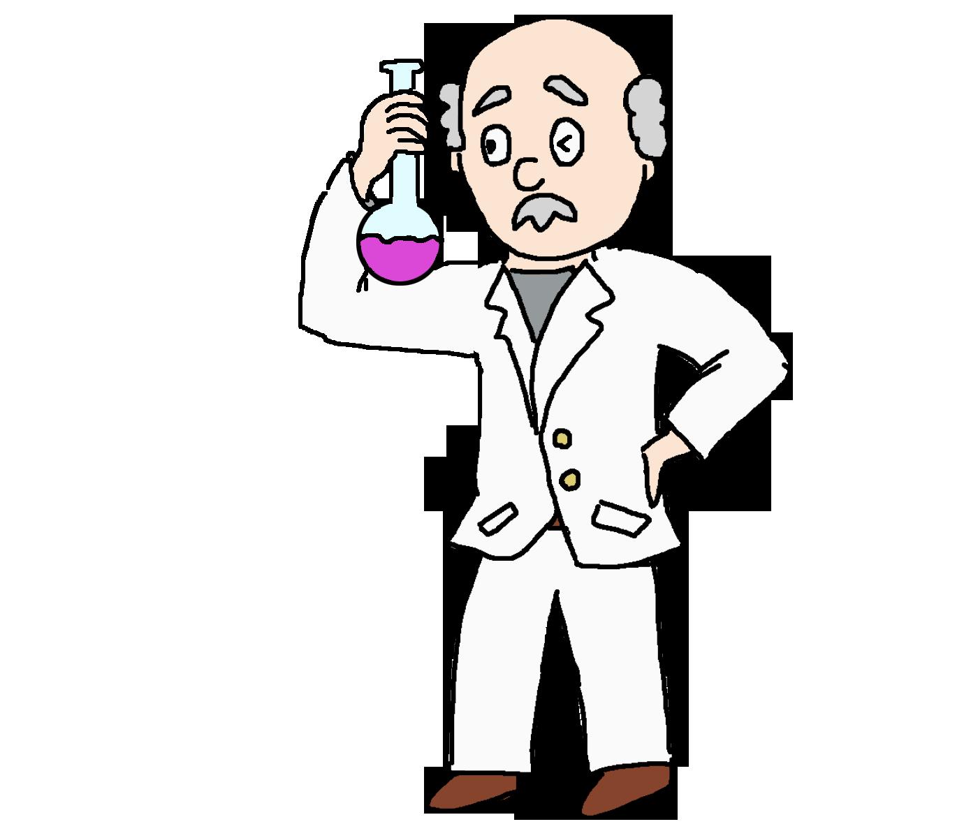 怪しい薬品で実験をする博士