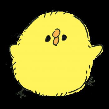 歩く丸いひよこ(モコモコ)のイラスト