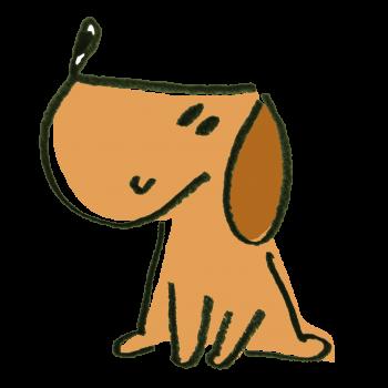 良い子にお座りして待つ犬のイラスト