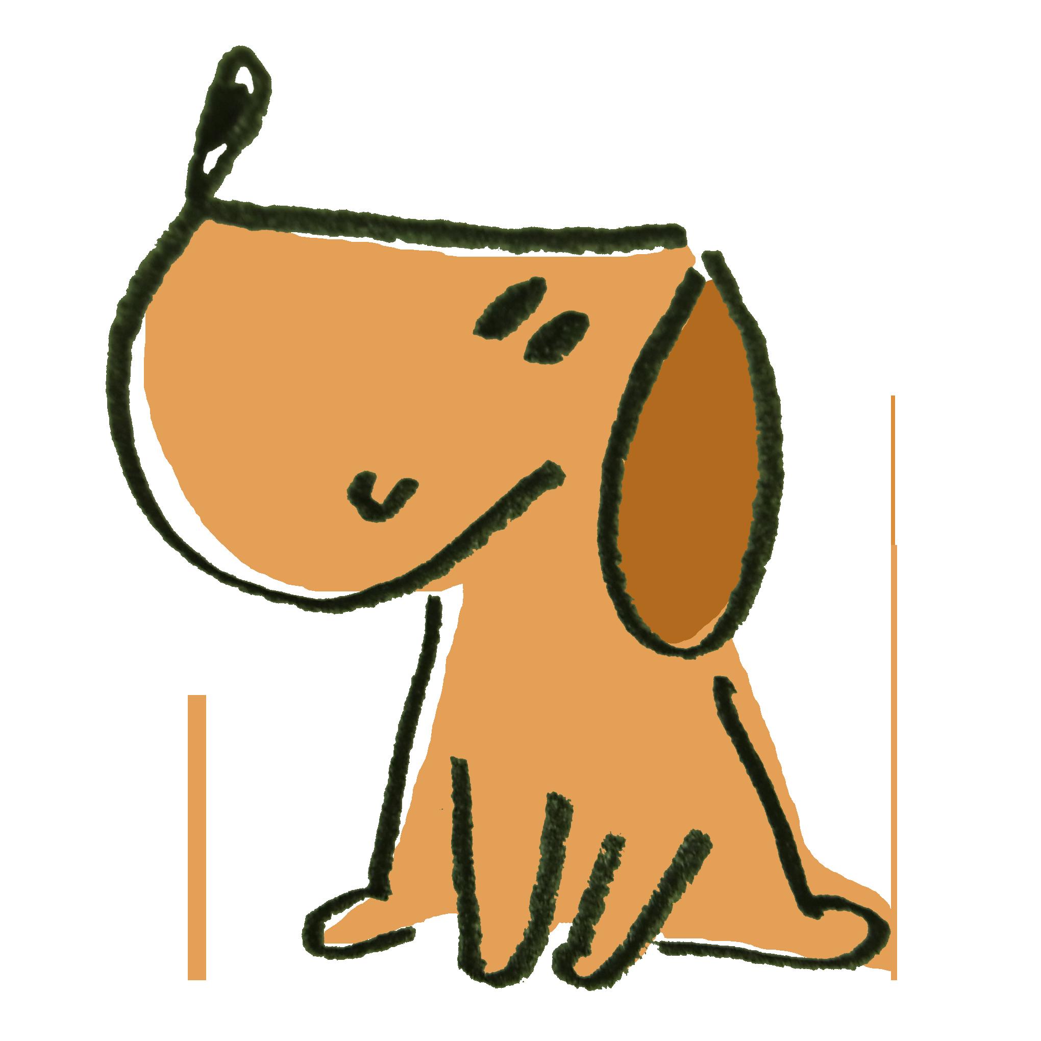 良い子にお座りして待つ犬のイラスト ゆるくてかわいい無料イラスト