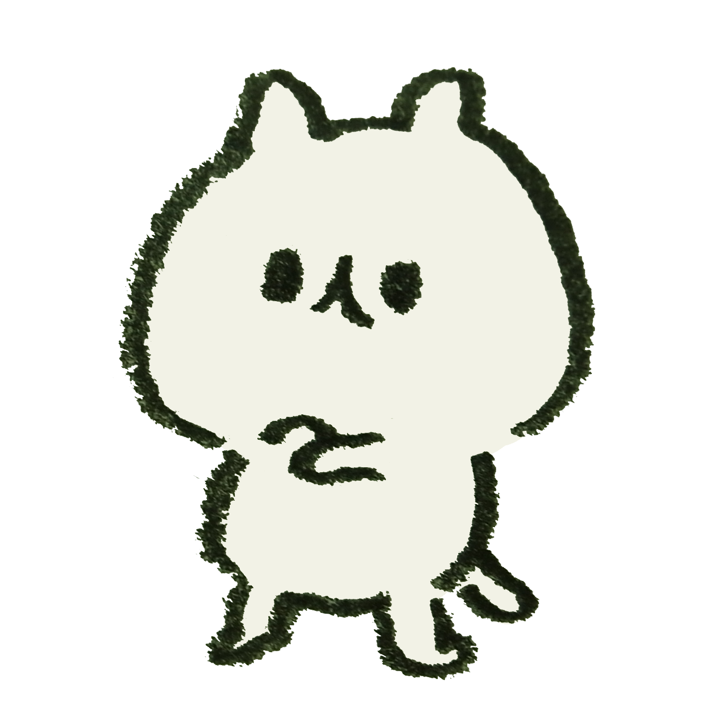 ウデを組んで考える猫のイラスト ゆるくてかわいい無料イラスト素材