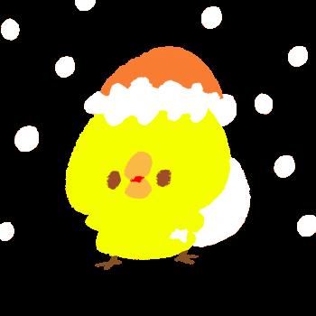 ホワイトクリスマスにプレゼントをくばるひよこのイラスト