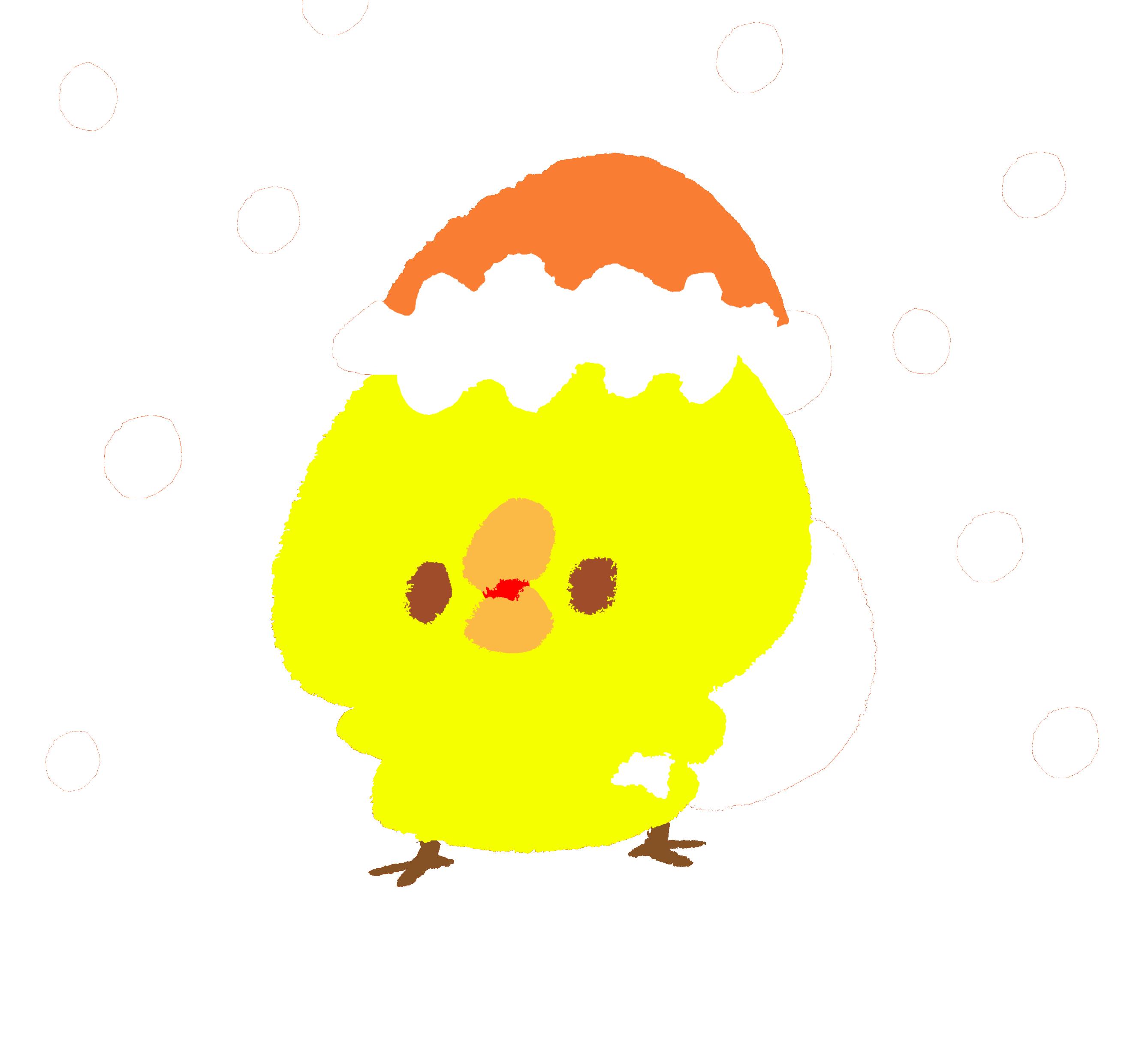 ホワイトクリスマスにプレゼントをくばるひよこ