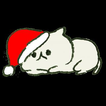 クリスマスの帽子をかぶされた猫のイラスト