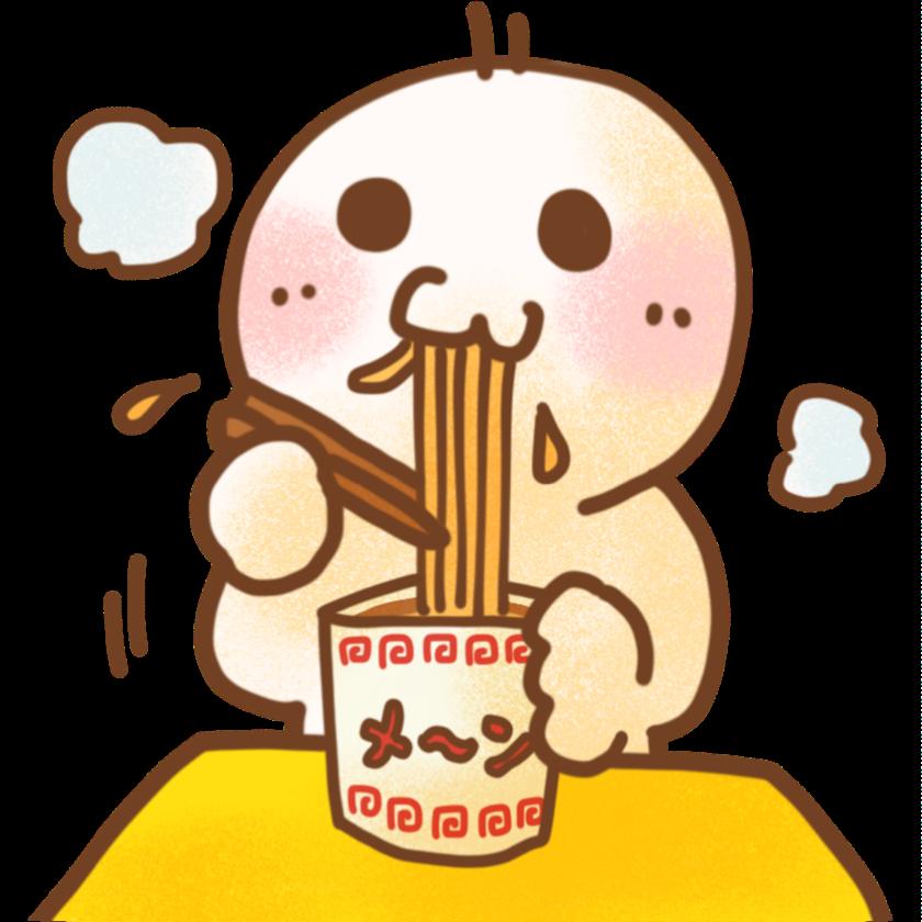 カップ麺を食べる人