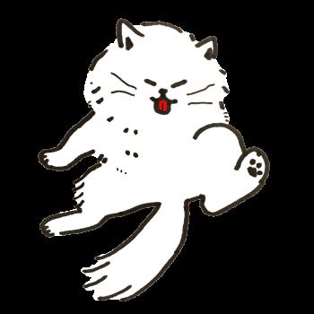 毛づくろい(グルーミング)をするチンチラシルバーの猫のイラスト