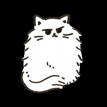 寒いのでしっぽで足を隠す白猫のイラスト