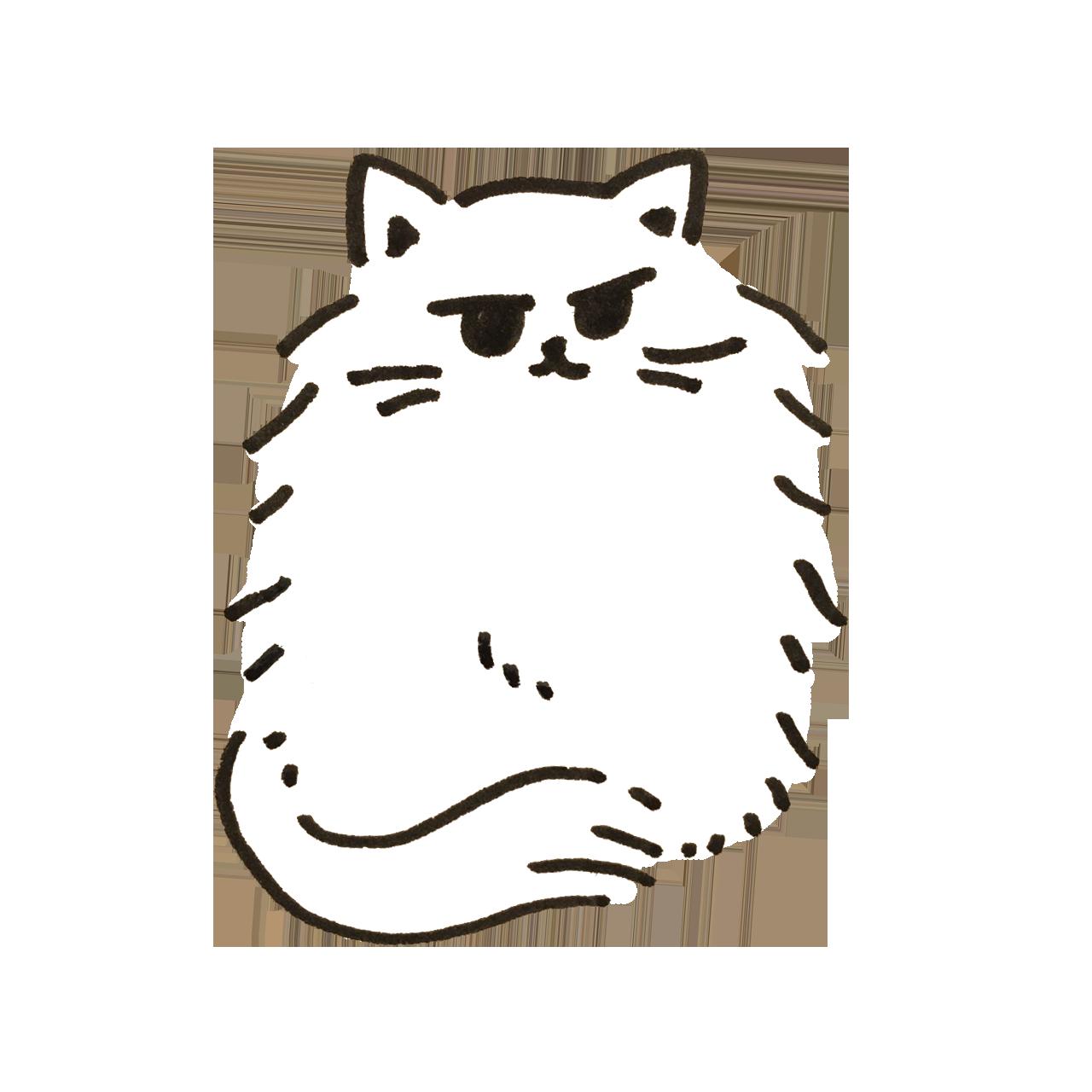寒いので尻尾で足を隠す白猫