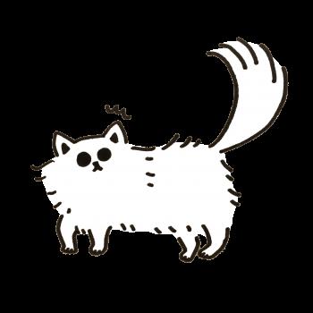 突然の音に驚く猫のイラスト