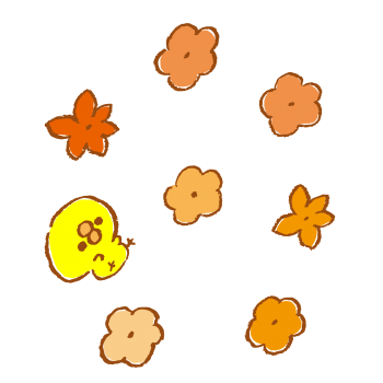花と落ちるひよこのイラスト