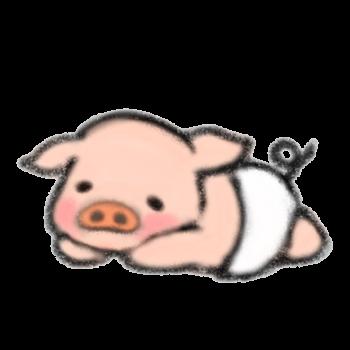 オムツをはいた子豚さんのイラスト