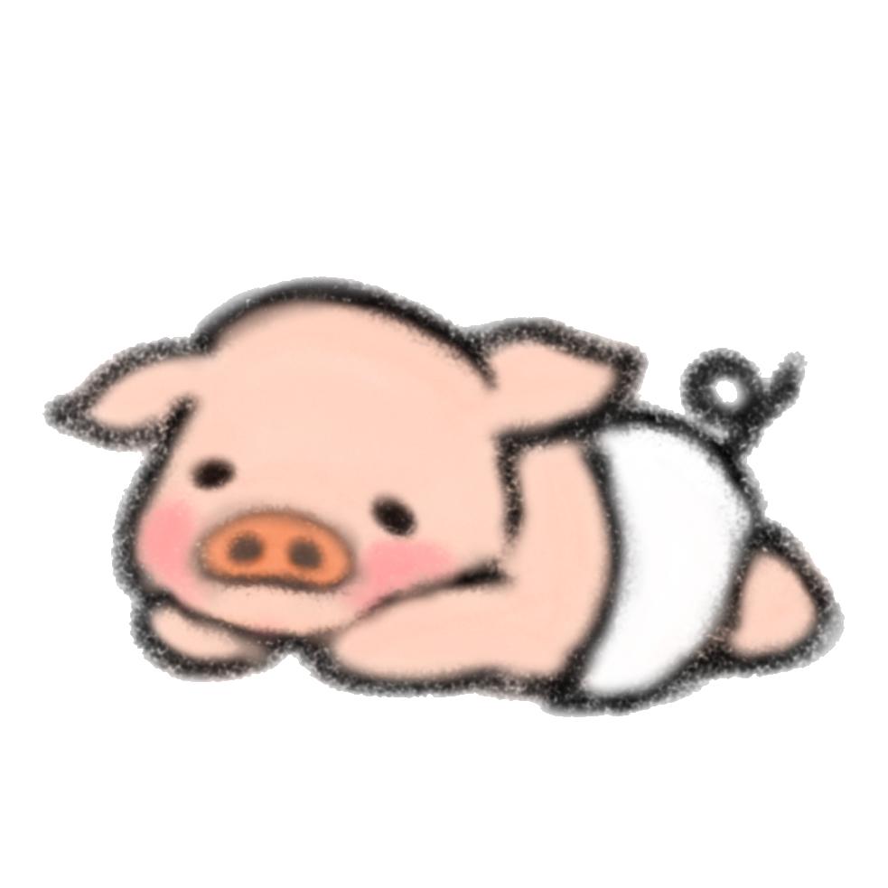 オムツをはいた子豚さんのイラスト ゆるくてかわいい無料イラスト素材