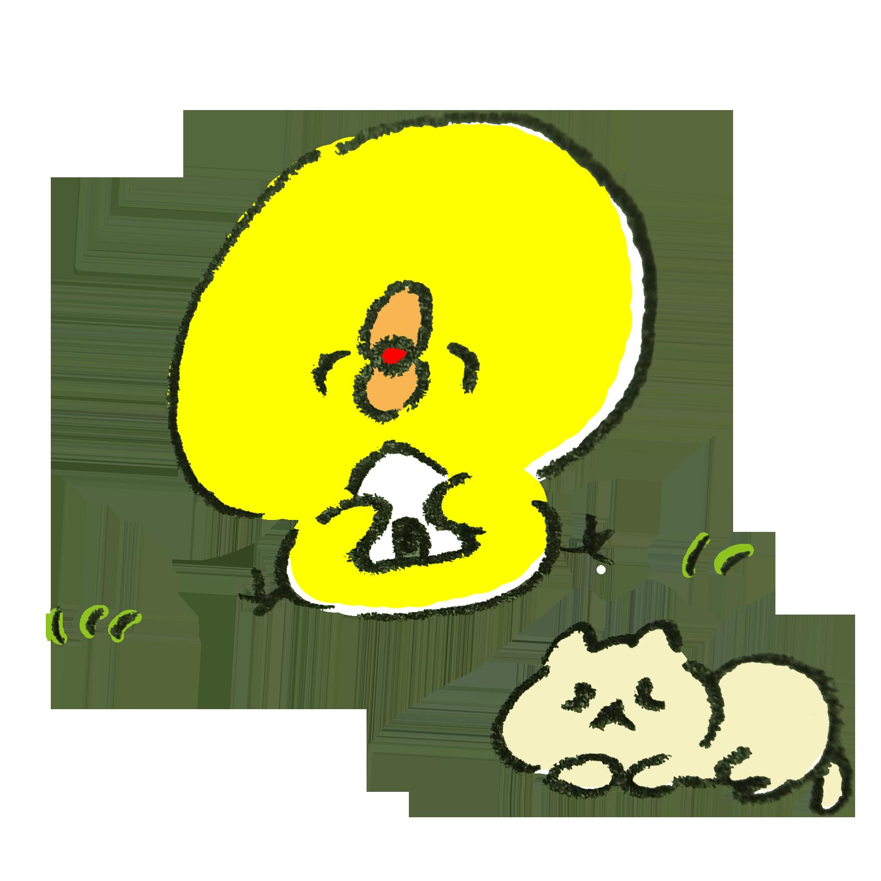 行楽日和にピクニックに行くひよこと猫