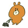 バーベキューの炭を片付ける熊
