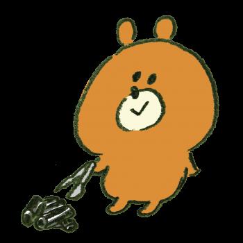 バーベキューの炭を片付ける熊のイラスト