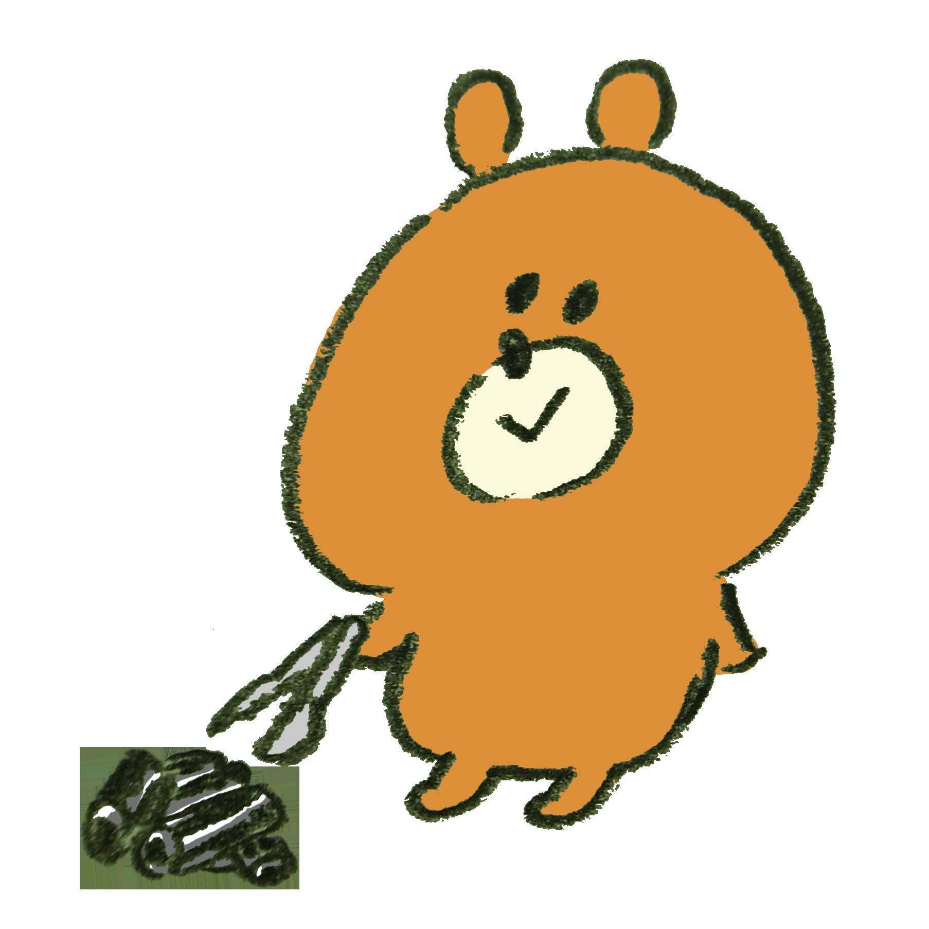 バーベキューの炭を片付ける熊のイラスト ゆるくてかわいい無料