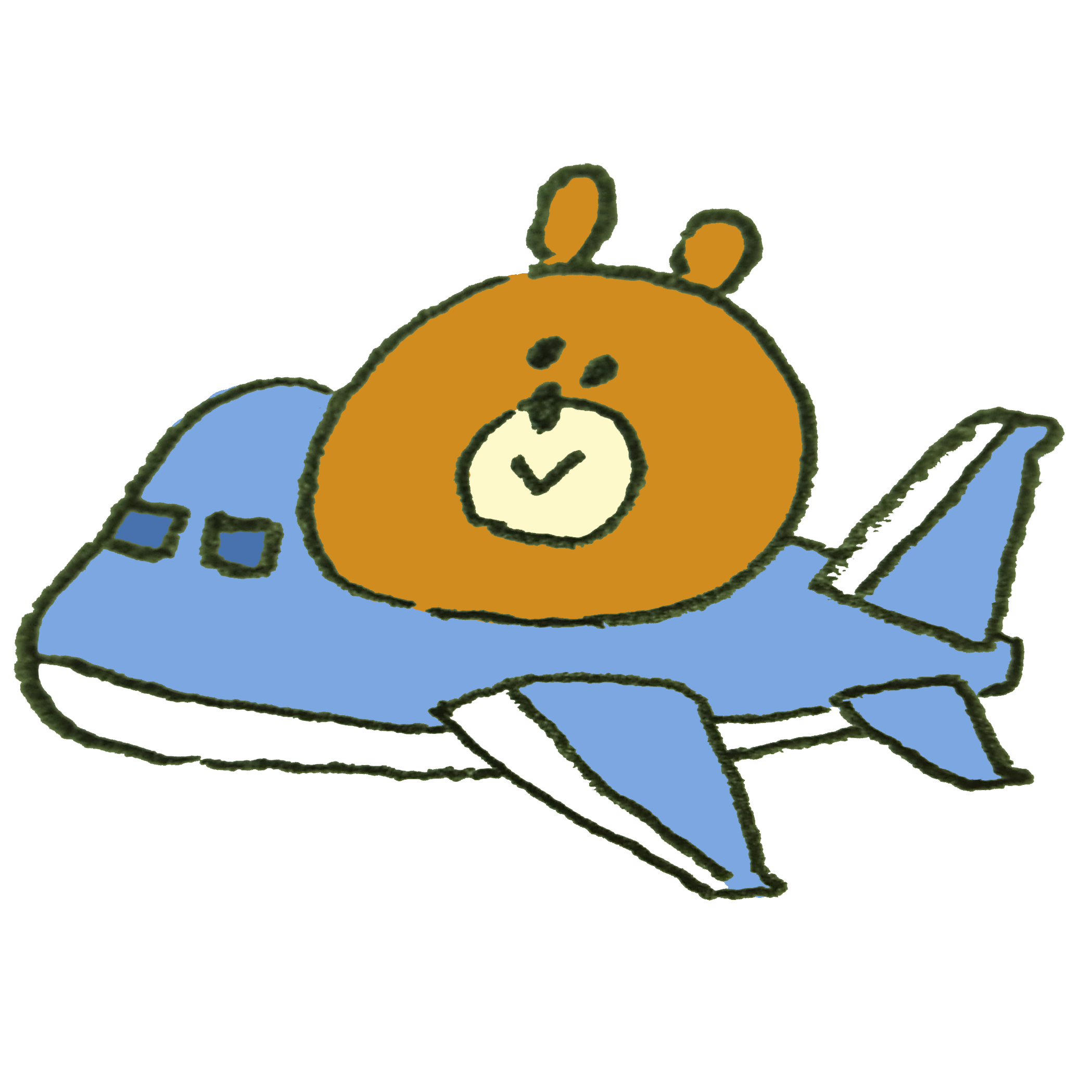 飛行機で旅行に行く熊のイラスト ゆるくてかわいい無料イラスト素材屋