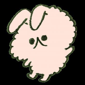とびはねるうさぎ(モコモコ)のイラスト