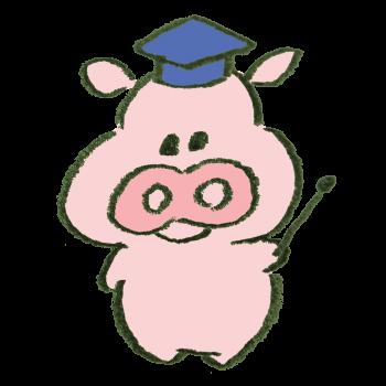 解説する豚のイラスト
