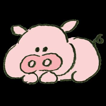 寝っ転がっている豚のイラスト
