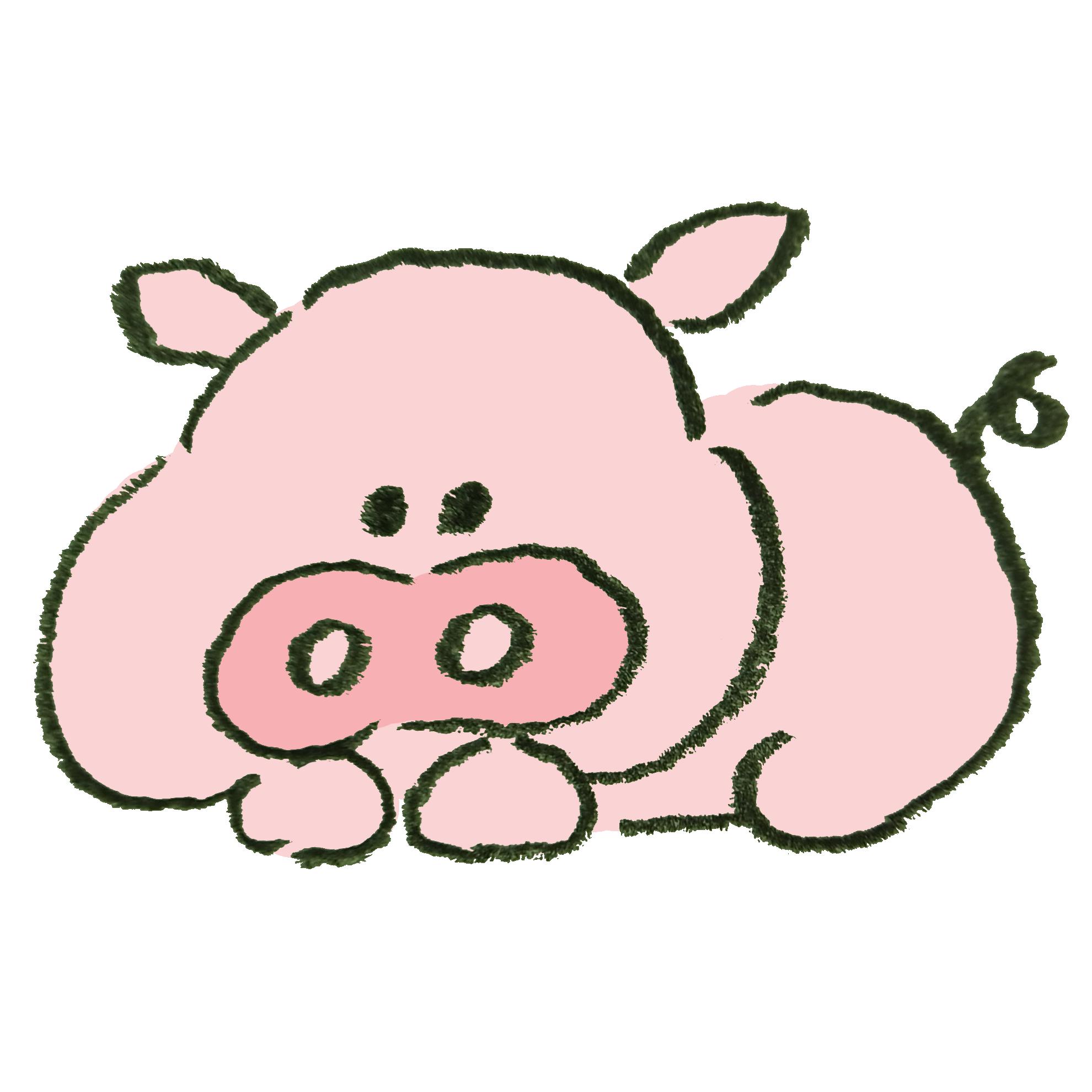 寝っ転がっている豚