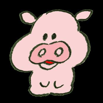 正座で待機する豚のイラスト
