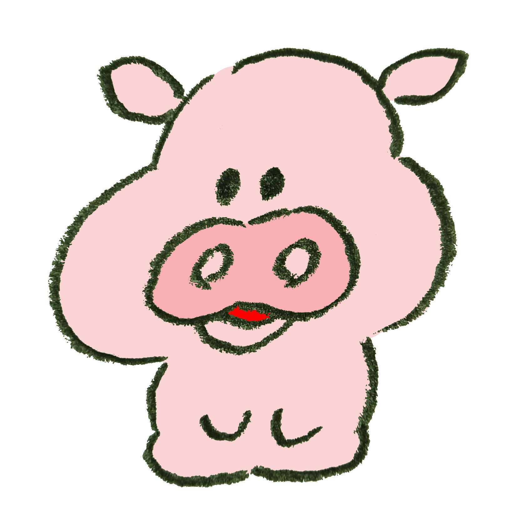 正座で待機する豚のイラスト ゆるくてかわいい無料イラスト素材屋