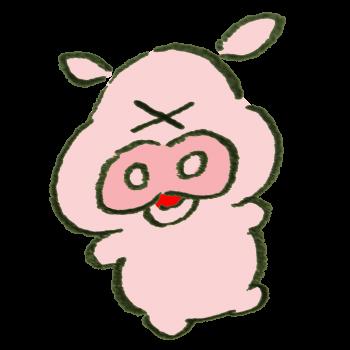 びっくりすることがあった豚のイラスト