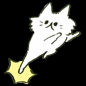 稲妻のようなけりを繰り出す猫のイラスト