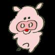 短い足を伸ばして踊る豚