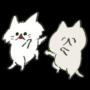 おどる猫2匹のイラスト