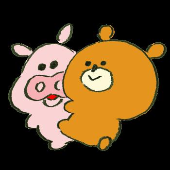 熊に懐かれて複雑な気持ちの豚のイラスト