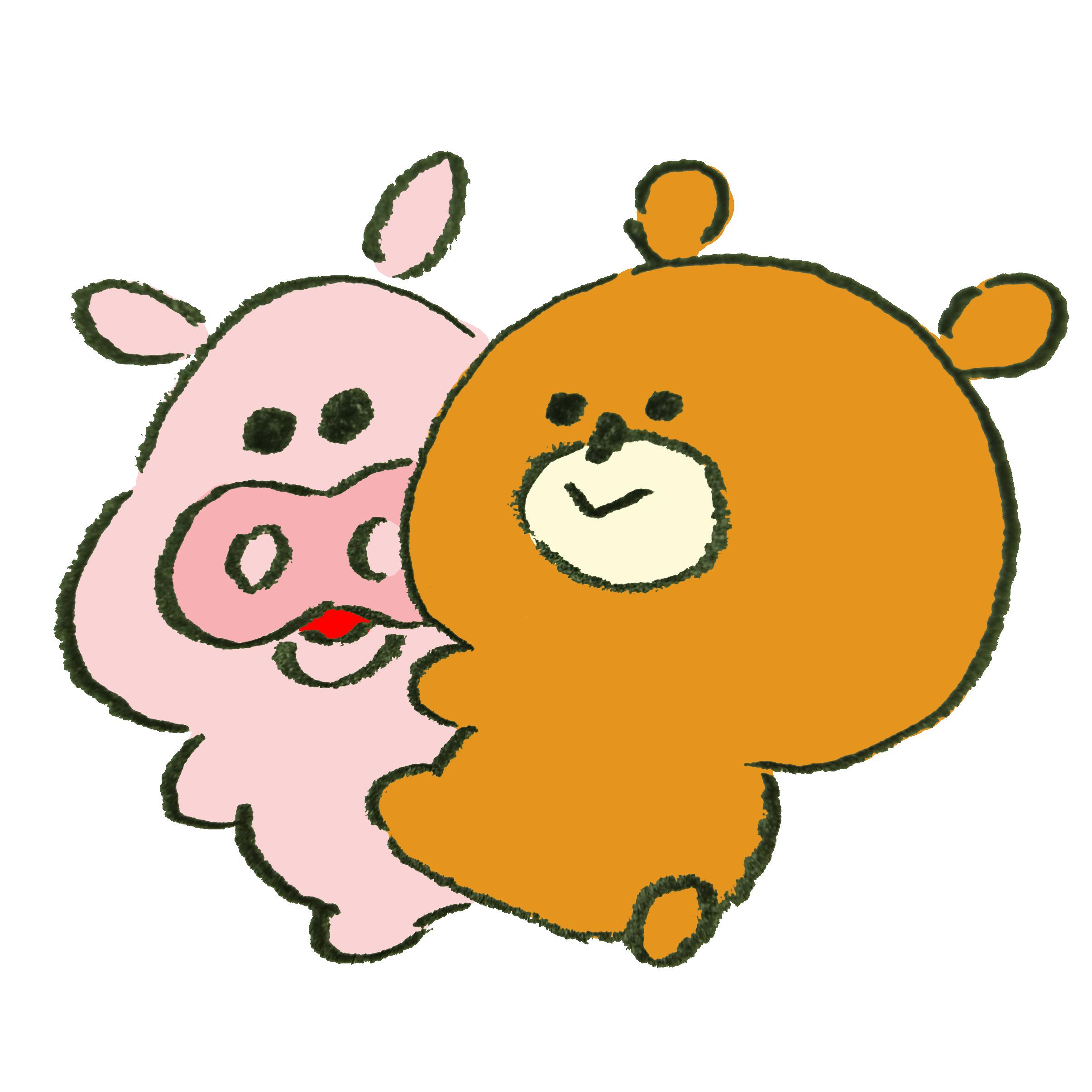 熊に懐かれて複雑な気持ちの豚