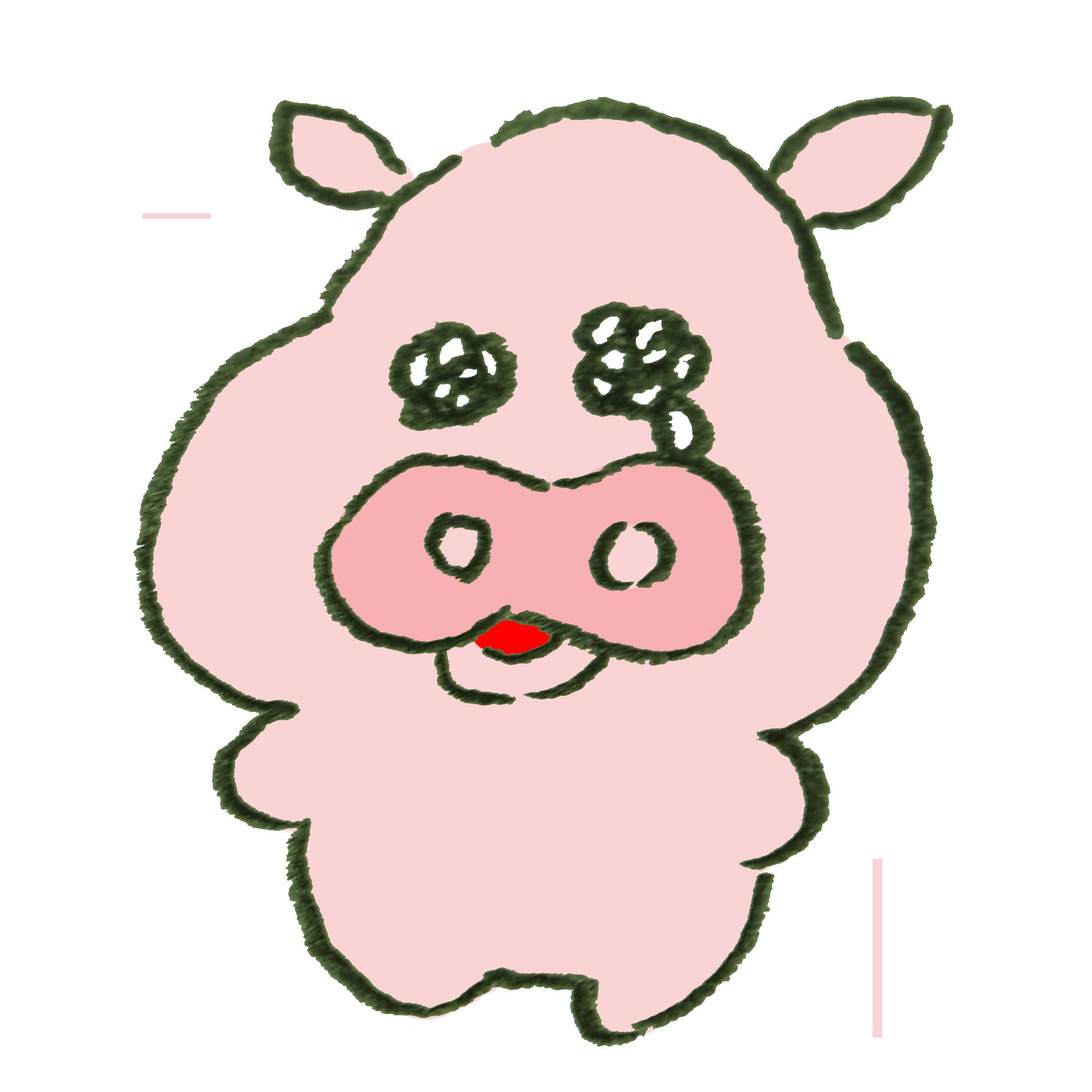 泣いている豚