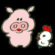 食肉の未来を話す豚とニワトリ