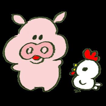 食肉の未来を話す豚とニワトリのイラスト