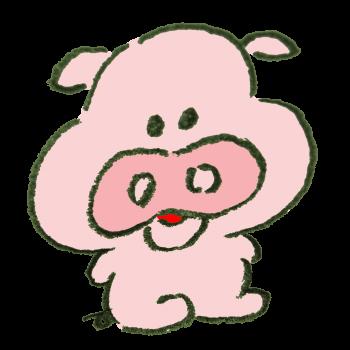 座ってる豚のイラスト