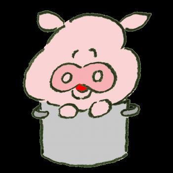 寸胴に入って笑う豚のイラスト