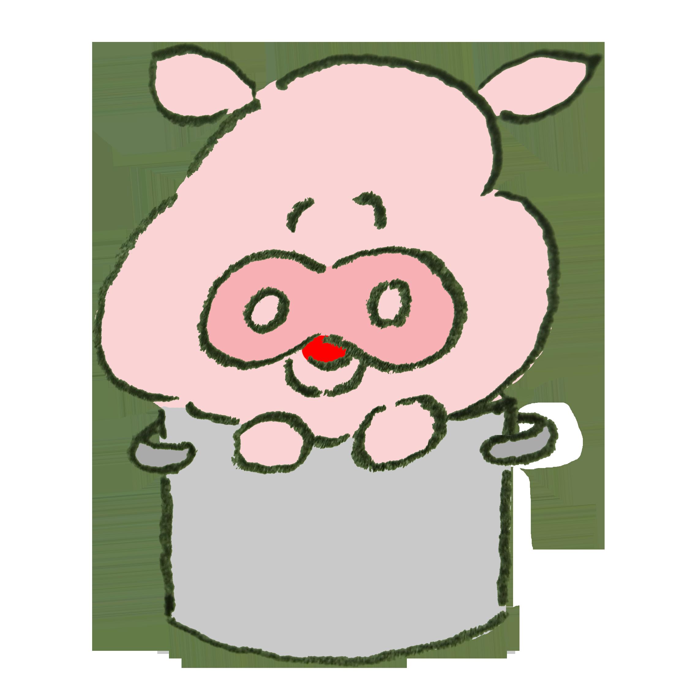 寸胴に入って笑う豚